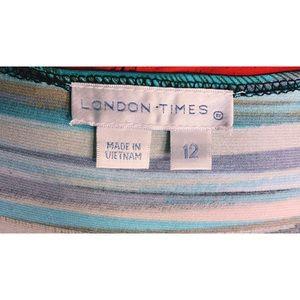 London Times Dresses - London Times Teal Draped Dress w/ Side Slit